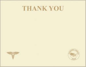 """Pandemic Heroes Collection - Premium Weight """"Thank You"""" Certificates, Gold Foil, Ivory"""
